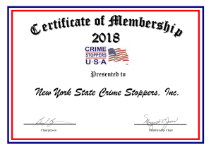 Crime Stoppers USA 2018 Certificate of Membership