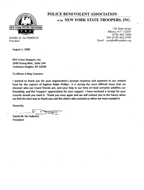 Letter of thanks of 1 August 2008 from Daniel De Federicis, president of the Police Benevolent Association of the New York State Troopers, Inc., to New York State Crime Stoppers, Inc.