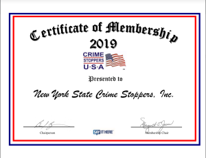 Crime Stoppers USA 2019 Certificate of Membership