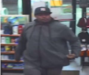 Security footage of one of the suspects in the Feb. 1, 2020 Shell station robbery.