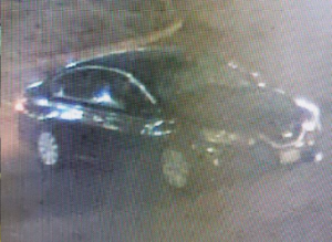 Security footage of the vehicle in which the suspects in the Feb. 1, 2020 Shell station robbery fled, possibly a 2016-2019 Nissan Sentra.